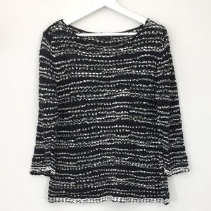 Eileen Fisher Black & White Bateau  Neck Sweater